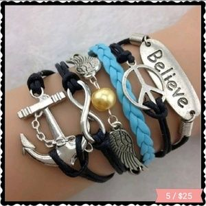 Jewelry - Multi strand leather bracelet with charms